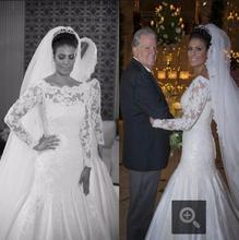 Royal Mermaid Robe De Mariage Lange Mouwen Lace Bridal Jurken Sequin Vrouw gratis verzending Trouwjurk Elegante