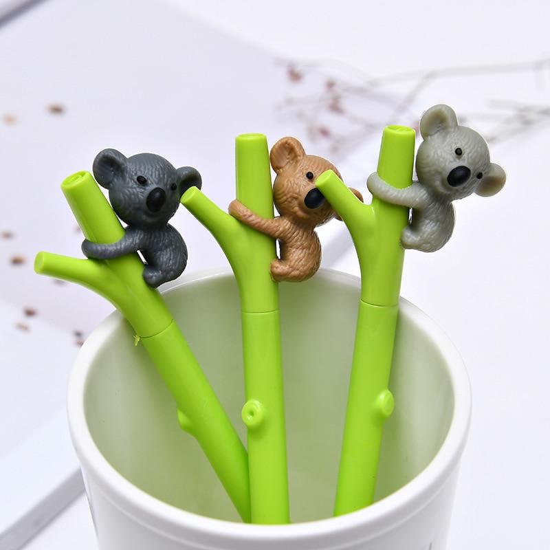 3 unids/lote de bolígrafos Kawaii de Gel de tinta negra de 0,5mm, lindos bolígrafos de dibujos animados de animales Koala, diseño de Rama, material de papelería para oficina y Escuela 04143