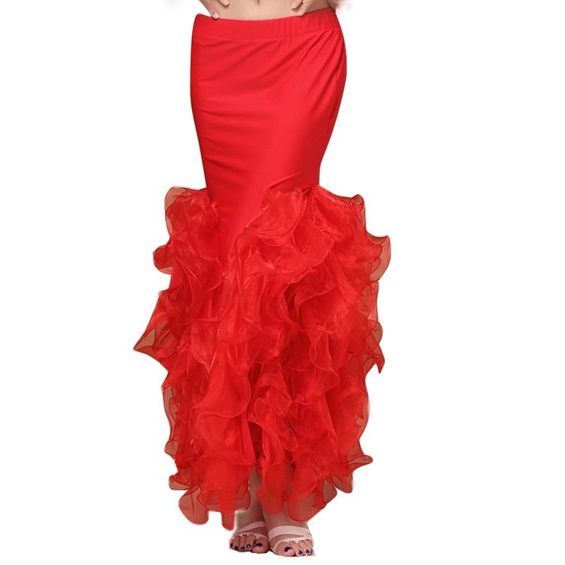 تنورة شيفون طويلة الذيل للسيدات ، ملابس رقص شرقي ، أداء ، 5 ألوان ، تنورة احترافية ملفوفة
