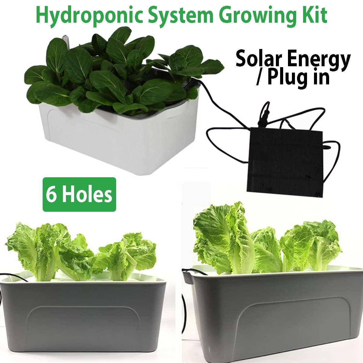 Солнечная энергия гидропонная система садовые растения горшки для овощей Soilless сеялки 6 отверстий оборудование для выращивания коробок дет...