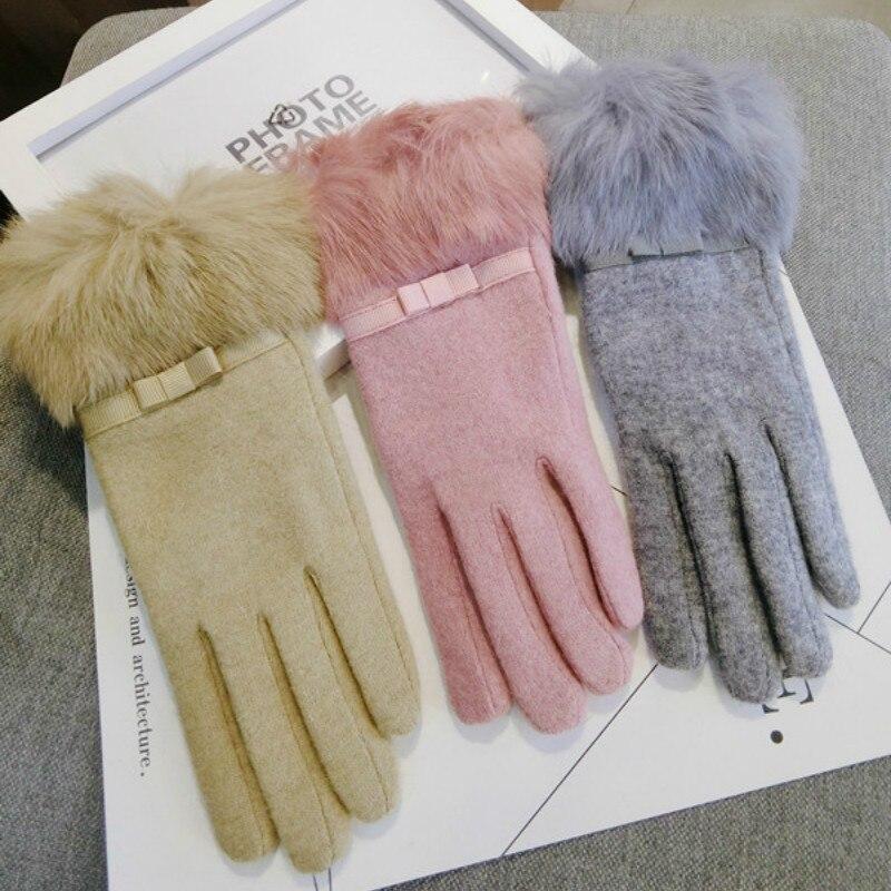 Versión coreana, nuevos guantes gruesos con pantalla táctil de cinco, lindos guantes de Cachemira abrigados para Otoño e Invierno para mujer