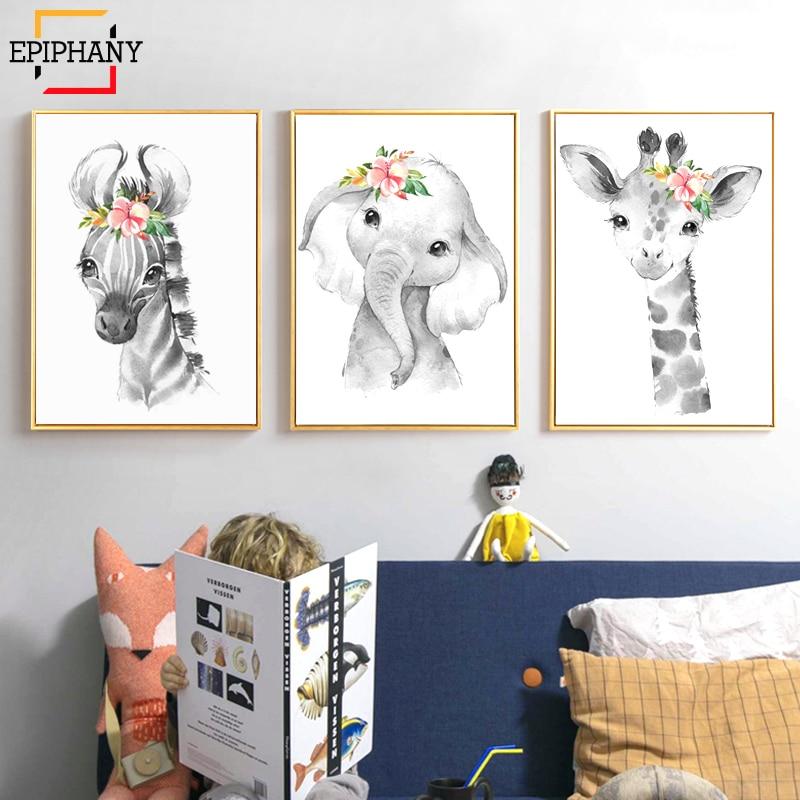 Animais da floresta decoração do berçário zebra girafa leão macaco elefante animais pintura imagens crianças quarto arte da parede cartazes