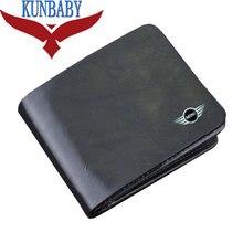 Top qualité en cuir véritable noir voiture logo Document sac portefeuille carte paquet pour Mini Cooper voiture style voiture accessoires KUNBABY