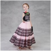 2019 new european and american style flower girl dresses ball gown pink lace tulle striped embroidered o neck sleeveless