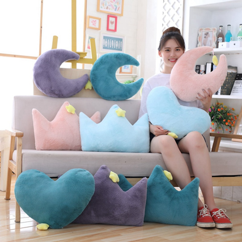 Cielo serie Peluche de juguete de peluche suave dibujos Luna corona de estrellas corazón-almohada con forma de peluche bonito sofá cojín para niños regalo de cumpleaños