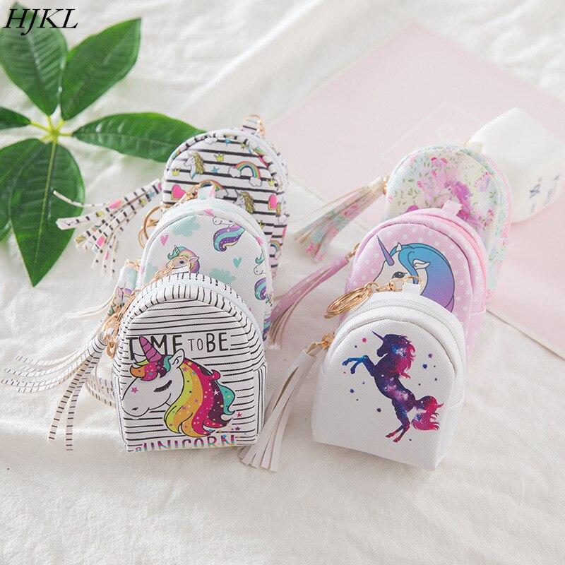 Monederos de cuero con dibujos animados de unicornio, carteras para mujer, pequeña tarjeta kawaii, portatarjetas para llaves, monedero para niñas y niñas