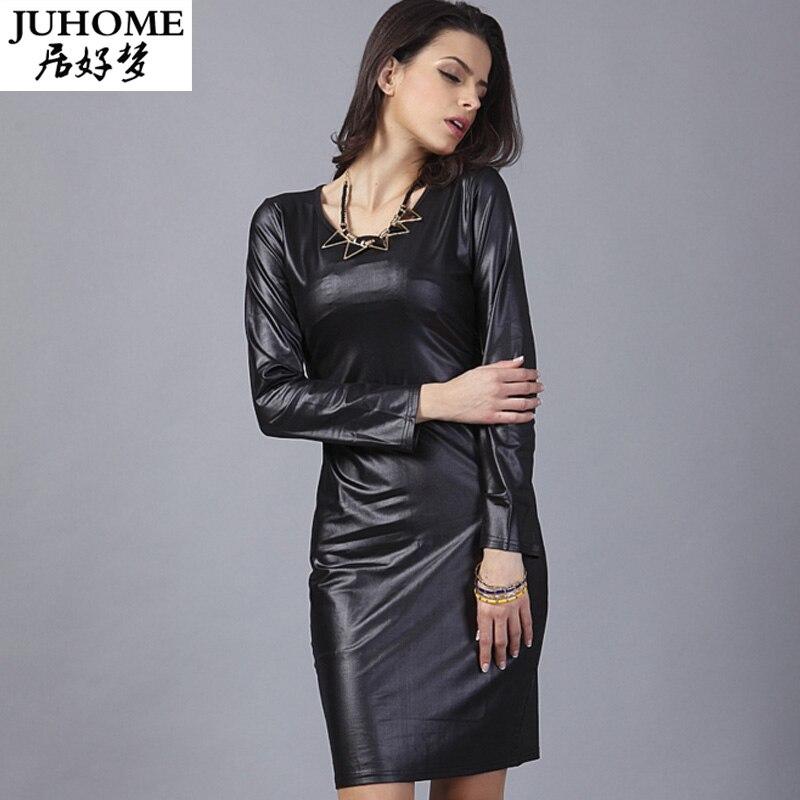 Long Sleeve Women Clothing Bodycon PU Leather Tunic Dress Elegant Club Casual Runway Black Fashion Office Pencil Dress Robe Sexy