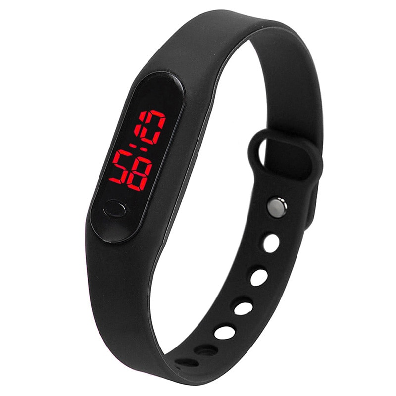 Hot!! Moda LED Das Mulheres Dos Homens Data Sports Watch Pulseira de Borracha Relógios De Pulso Digital Preto