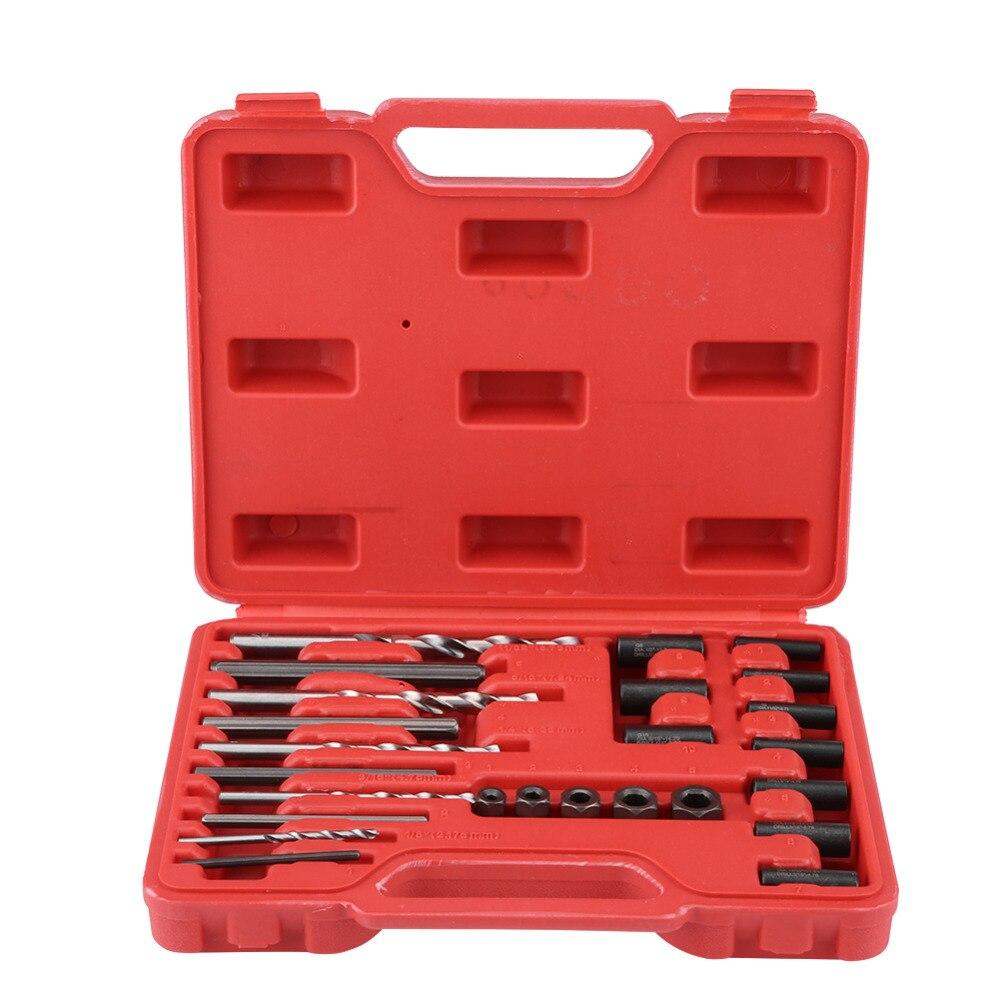 Extractor de rosca de 25 uds. Para reparación, fácil de quitar, para taladro y guía, juego de herramientas, tornillos rotos, tornillos dañados, elimina el brillo