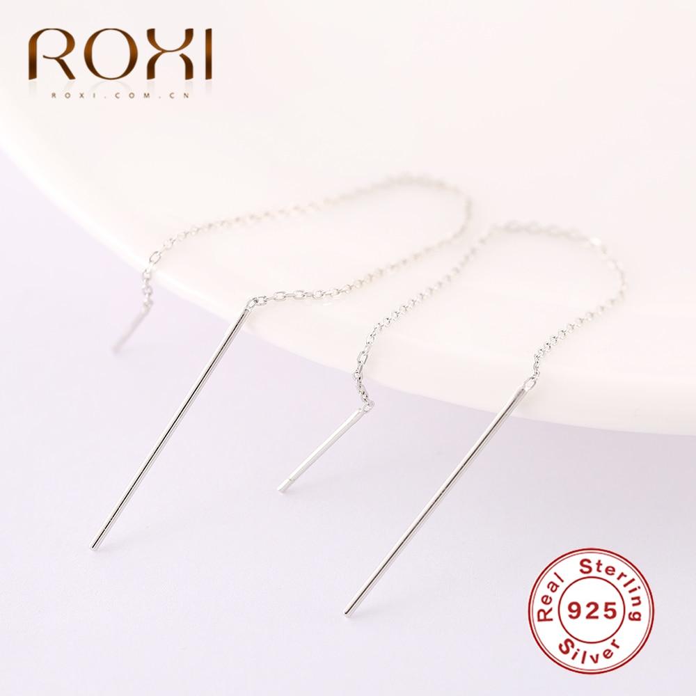 Roxi 925 brincos de prata esterlina para as mulheres longo borla brincos linha da orelha pendientes geometria vara gota balançar brincos jóias