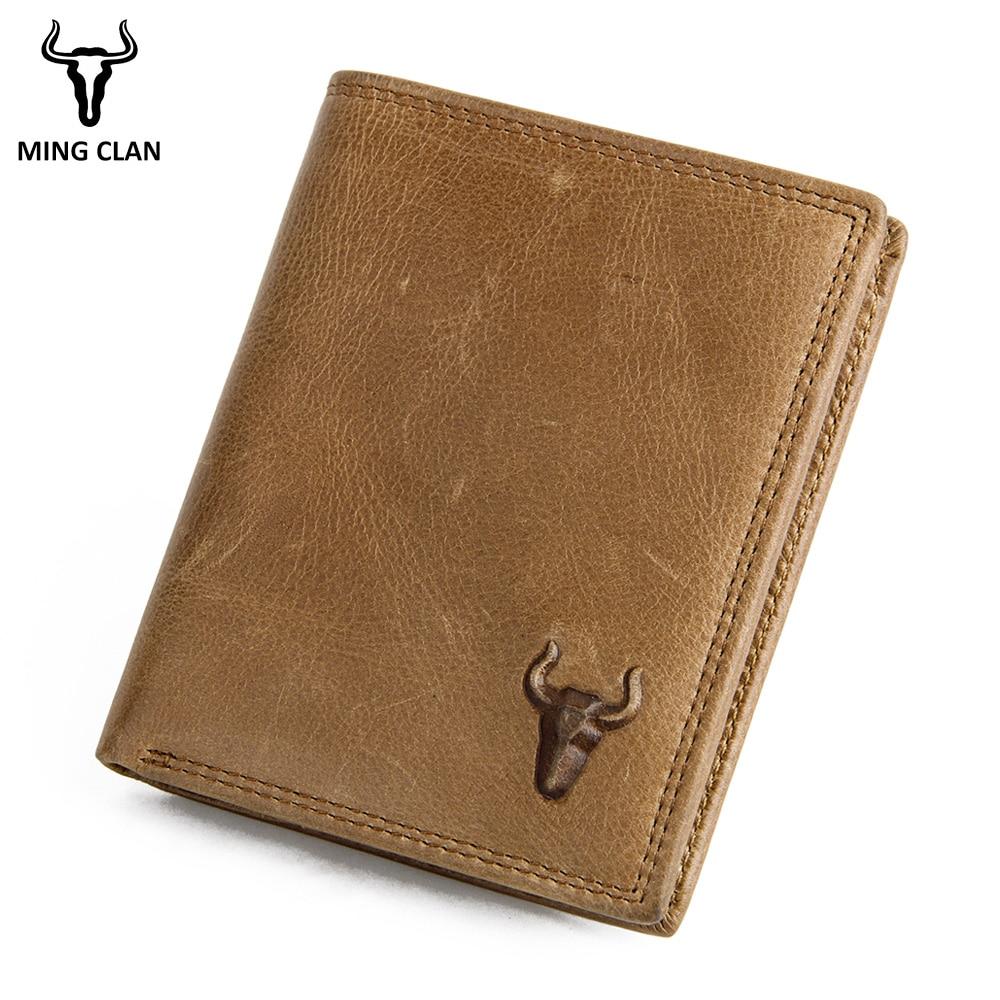 Мужской короткий кошелек Mingclan из 100% натуральной кожи, винтажный Повседневный бумажник из воловьей кожи, стандартные кредитницы