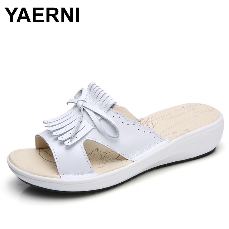 YAERNI 2018 Summer women flat sandals Shoes white leather ballet slippers round toe fringe slides sandals female flip flops 856