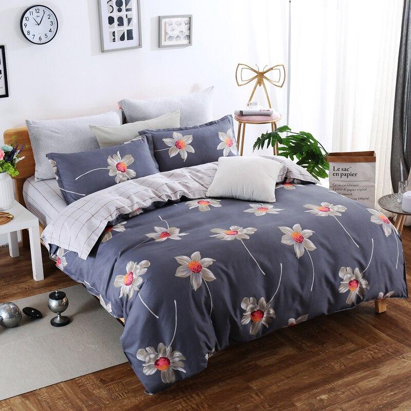 Juego de ropa de cama de impresión gris claro juego de edredón de venta suave de poliéster reactivo King Queen tamaño doble 3/4 piezas