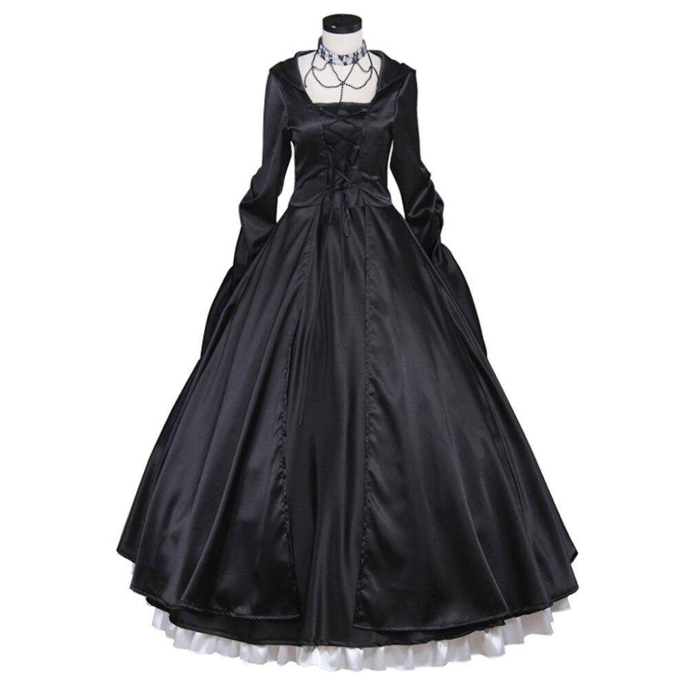 Negro vestido medieval de princesa disfraz de belleza sureña vestido de Lolita gótica adulto vestido de fiesta para mujeres vestido de noche personalizado hecho
