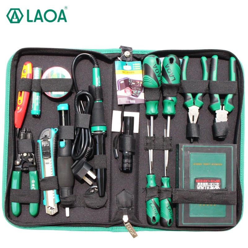 LAOA-مجموعة أدوات إصلاح ، طقم مفكات براغي 38 في 1 ، كماشة ، سكين ، مقبض ، إصلاح ، 53 قطعة