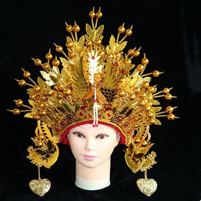 Золотые женские Корона шляпы Древняя китайская шляпы опера Косплей драма шляпы старинные невесты Шляпы Хэллоуин Косплей Карнавал Поставок