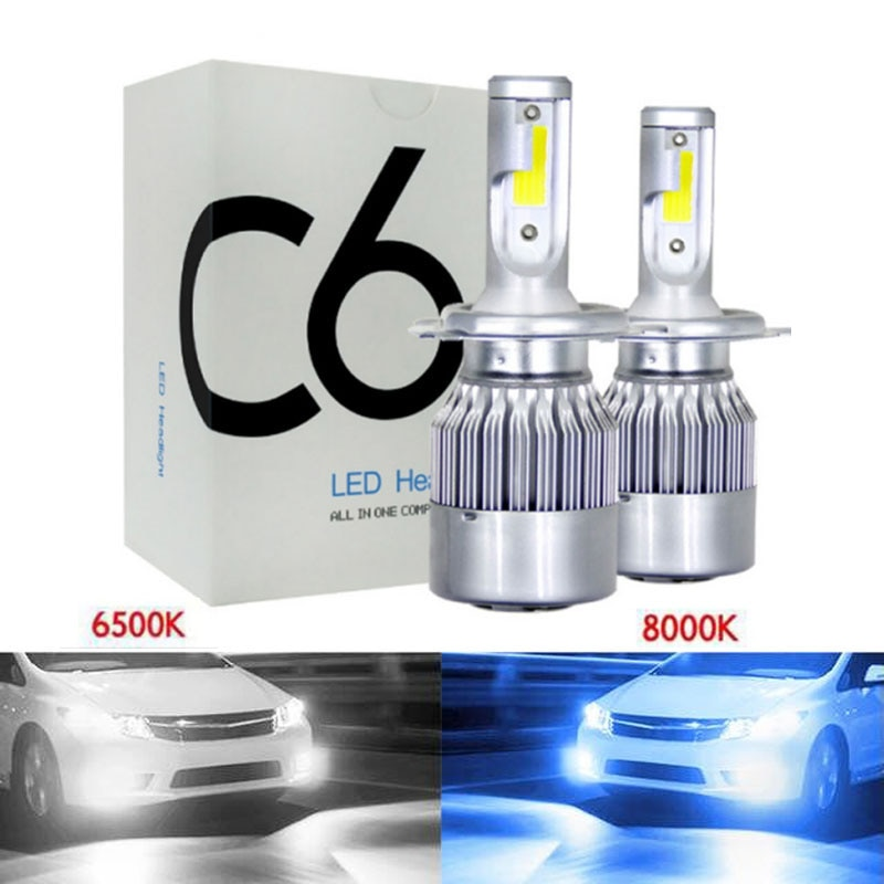 1 pares de 6500K 8000K LED H4 H1 H3 H8 H9 H11 9005 HB3 9006 HB4 9004 9007 H13 880 H7 Bombillas de faros LED coche lámpara de luz 12V