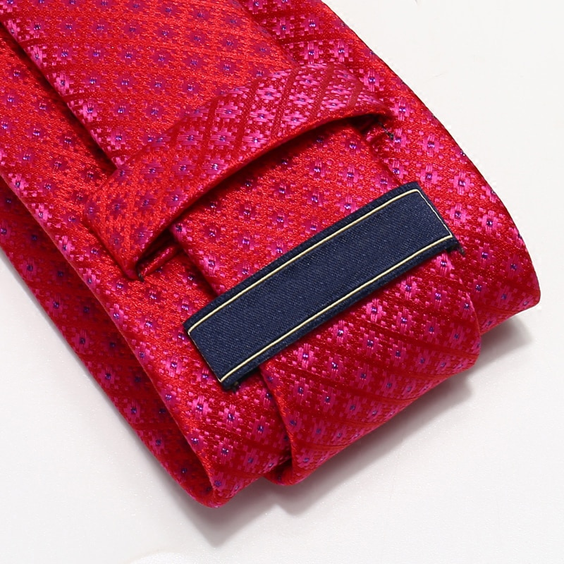 2019 New Fasion Red Jacquard Weave Ties for Men 7cm Slim Wedding Party Men's Necktie Groom Neck Tie with High Quality Gift Box