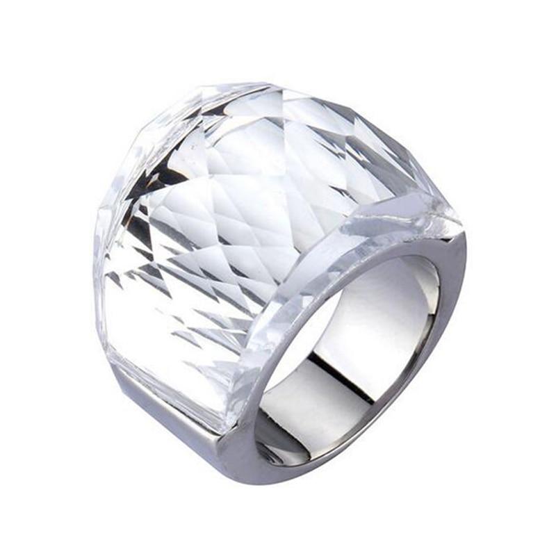 Женское модное кольцо с настоящими Австрийскими кристаллами, кольцо из нержавеющей стали 316L для женщин, большое разноцветное кольцо из тит...