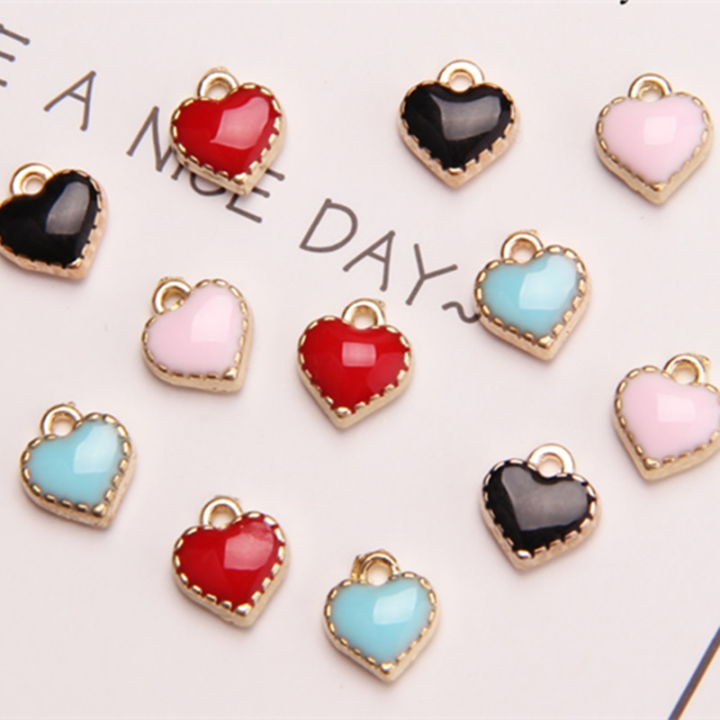 MRHUANG Mezcla color 20 unids/lote 7mm corazón esmalte encantos DIY pulsera collar pelo accesorio de la joyería DIY