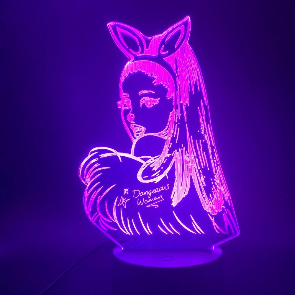 Lámpara de mesa 3d luz nocturna celebridad cantante Ariana Grande Poster gato chica Fans regalo para dormitorio decorativo luz de noche Led 3d
