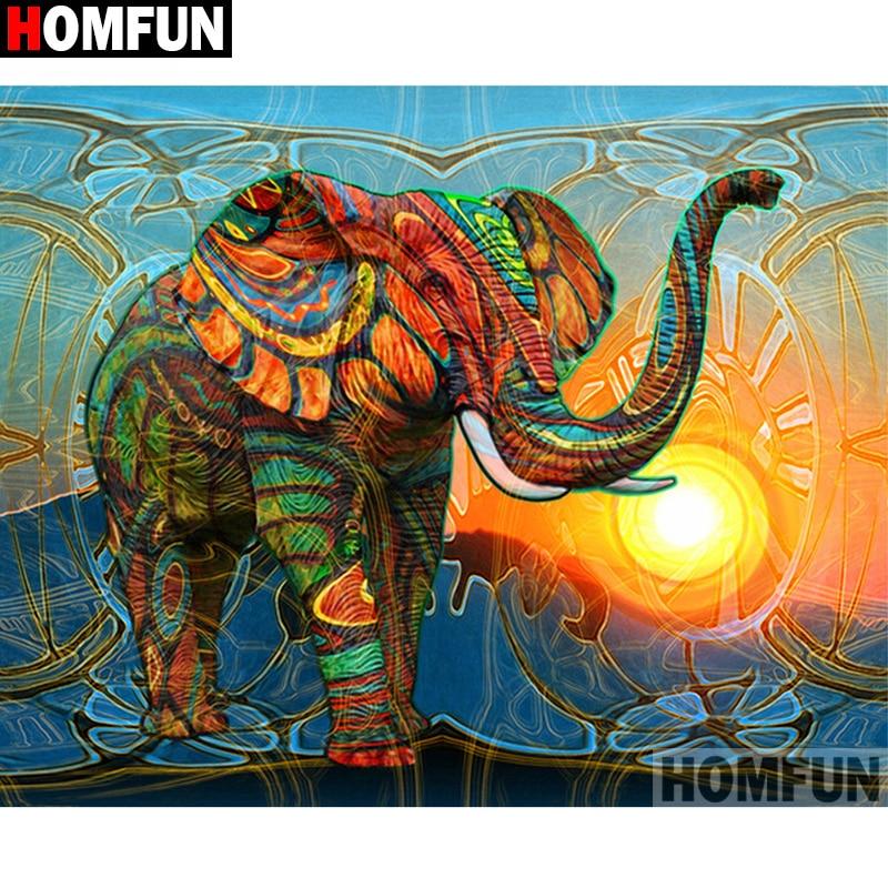 "HOMFUN cuadrado completo/taladro redondo 5D DIY diamante pintura ""Animal elephant"" 3D diamante bordado punto de cruz hogar decoración A19754"