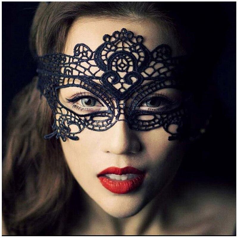 Máscaras de fiesta negro mujeres Sexy máscara de ojo de encaje máscaras de fiesta para disfraces venecianos para baile de máscaras o Halloween máscara de Carnaval para Porno sexual