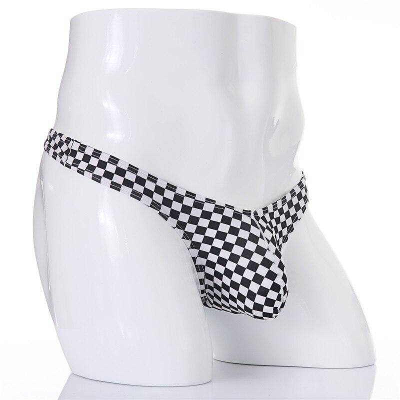 Cuecas masculinas t-back gay respirável g string men sissy sexy thongs roupa interior preto branco cheques cuecas cueca homme biquíni