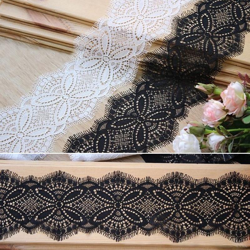 Garniture en dentelle à cils couleur noir/blanc   6M, garniture artisanale en dentelle de couture, pour robe, faites maison largeur de décoration, 10cm