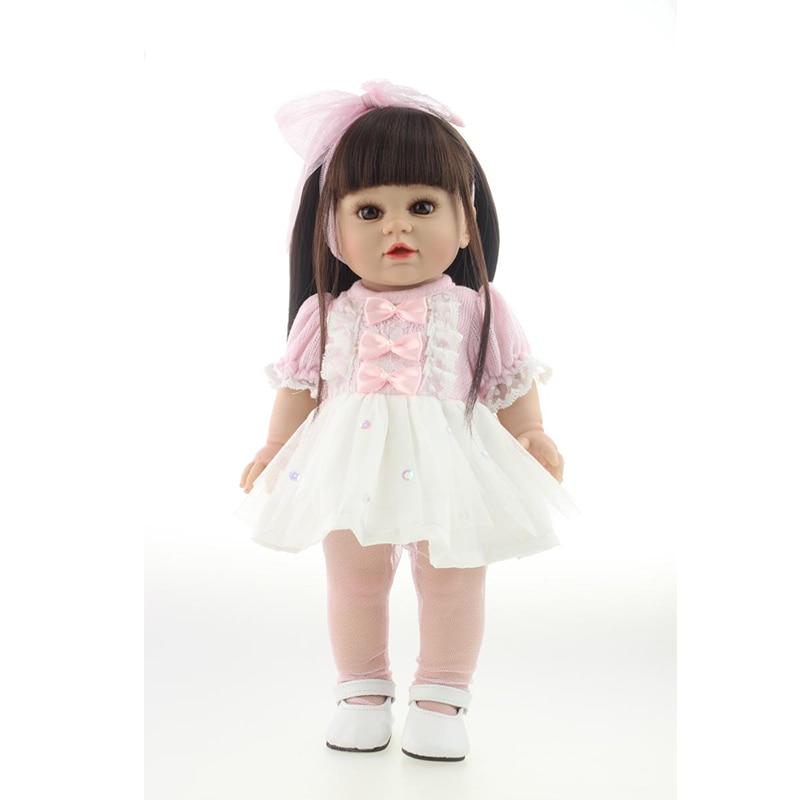 Bonita muñeca de juguete de 16 pulgadas 40cm realista bebé Reborn hermosa niña muñeca alta vinilo Navidad juguete para regalo para niños zapatos blancos