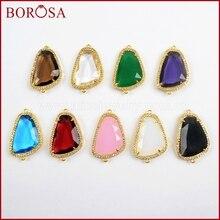 BOROSA 10 pièces couleur or arc-en-ciel Micro pavé CZ strass facettes pierre connecteurs Double breloques pour Bracelet bijoux WX925