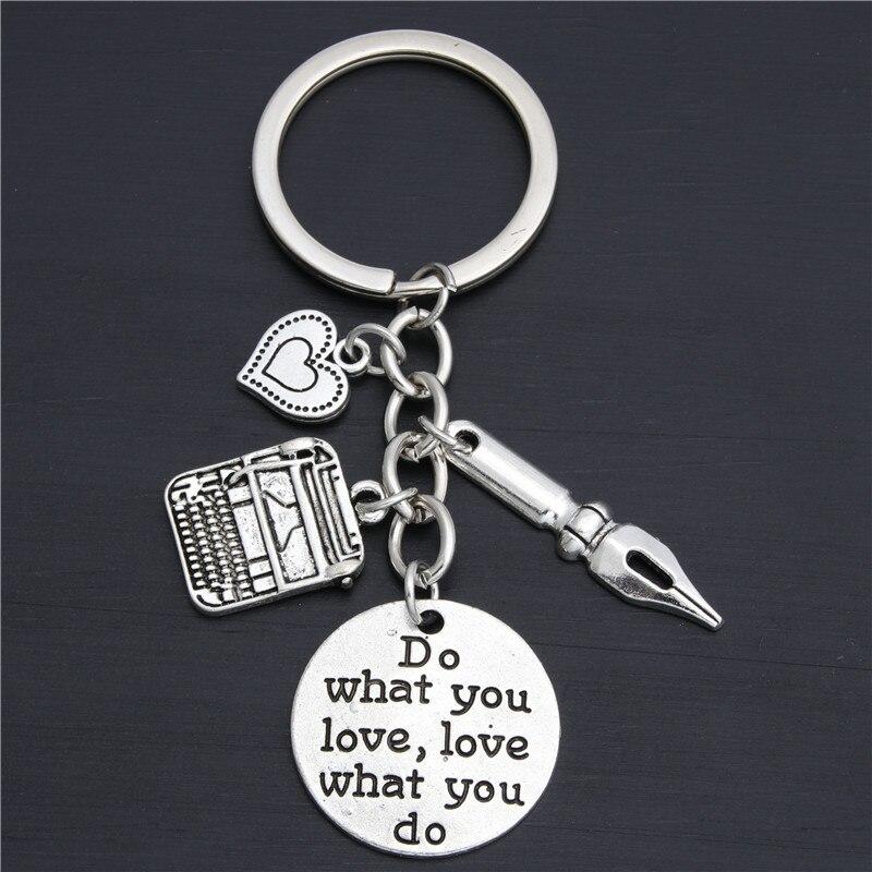 1pc livraison directe stylo breloques machine à écrire porte-clés secrétaire porte-clés cadeau pour auteur bureau bijoux faire ce que vous aimez E2028