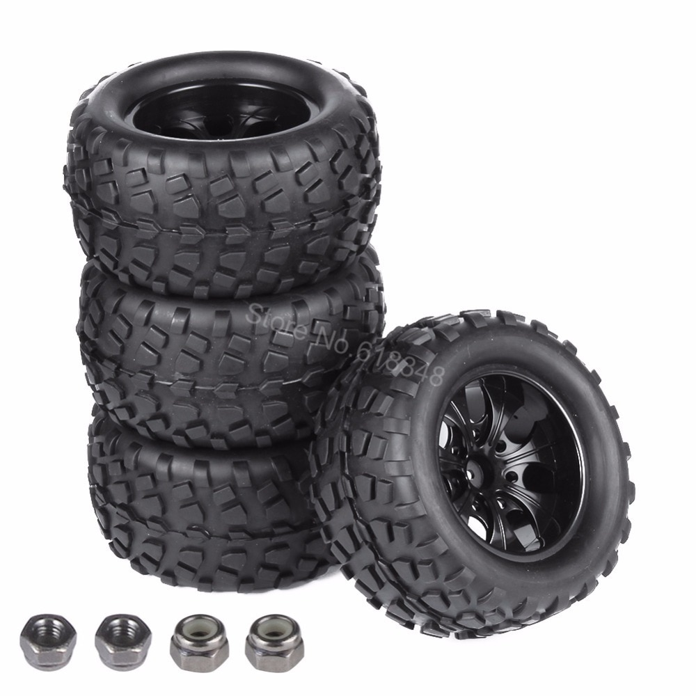 4x neumáticos para RC y Nylon llantas de ruedas de insertos espuma 12mm para HSP 1/10 camión monstruo Redcat volcán EPX Pro S30 apagón XTE Coche