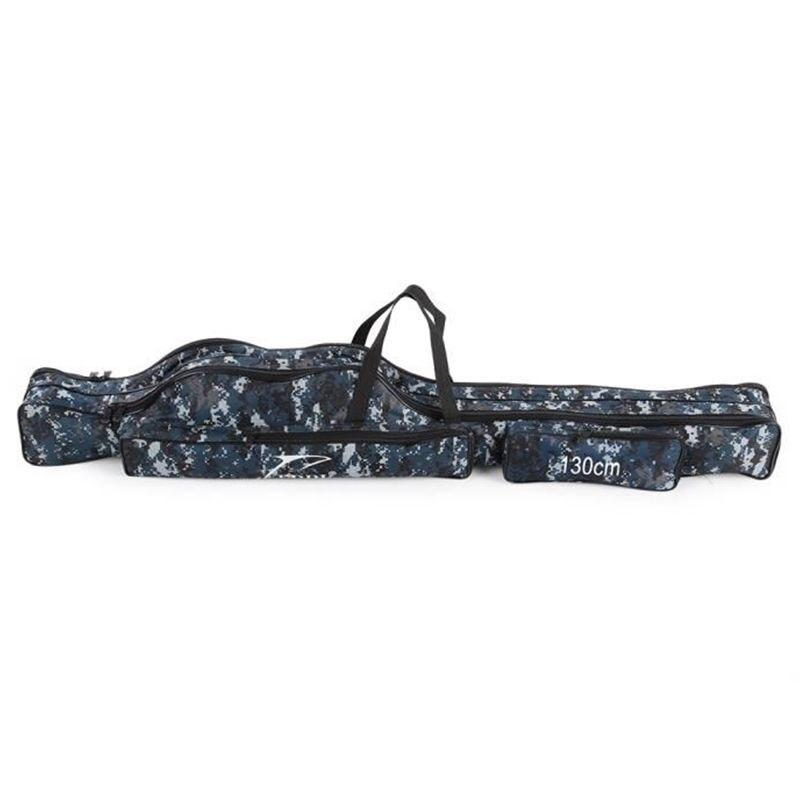 Bolsa de almacenamiento de pesca portátil, bolsa de lona plegable portátil para herramientas, bolsa de equipo para aparejos de caña mezclados de dos capas 130cm