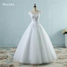 ZJ9085 dentelle blanc ivoire à manches courtes robes de mariée 2019 2020 pour mariée robe de mariée Vintage grande taille maxi client fait