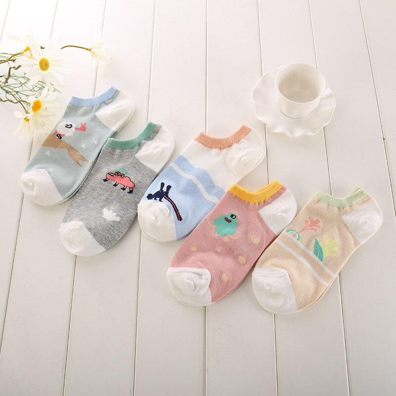 5 par/lote buena calidad zapatillas Calcetines para mujeres chicas longitud calcetines lindo animales de dibujos animados impresos bajo Invisible calcetines de las niñas