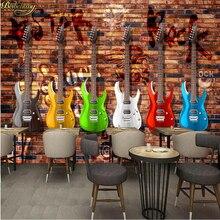 beibehang Custom Photo Wallpaper Mural European and American Retro Guitar Brick Wall Bar KTV Mural Background Wall