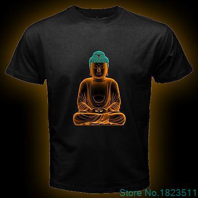 Buddha Budha Buddhist Karma Peace Men Black T Shirt Short Sleeve Tee Size S-3XL 100% Cotton