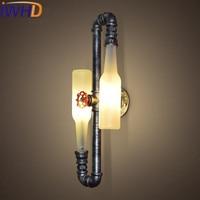 IWHD 2Heads Water Pipe Scone LED Wall Light Loft Industrial Vintage Retro Wall Lamp Iron Arandela Glass Bottle Wall Lamp Lights