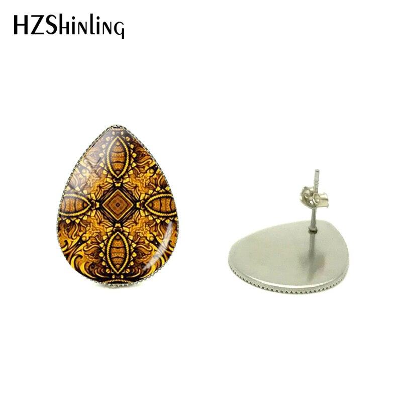 Bohemia Bright Flower Design Water Drops Fashion Women Earrings Mandala Yoga Indian Style Glass Tear Drops Earrings Jewelry