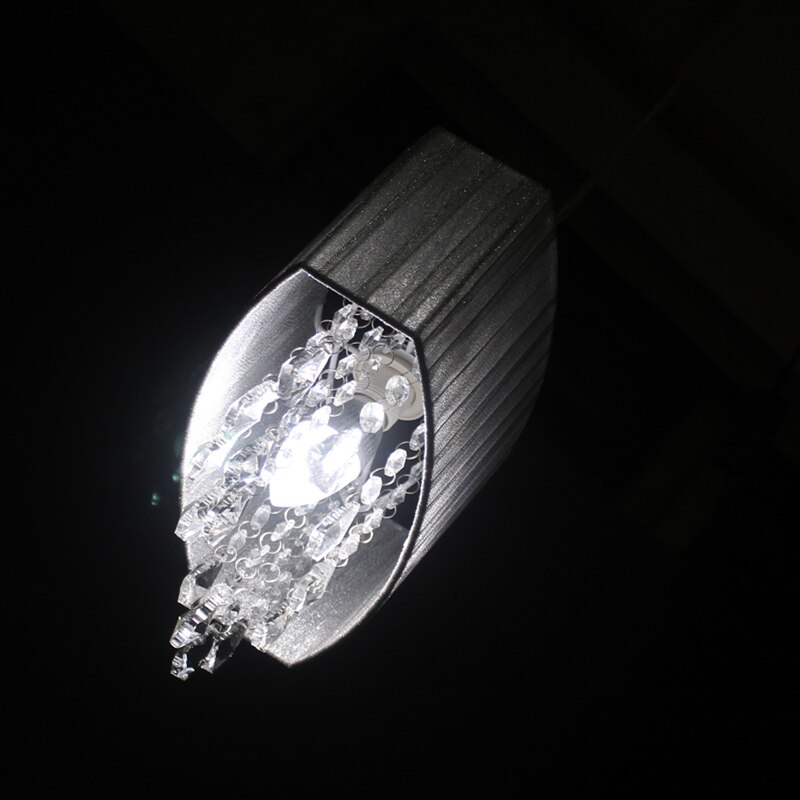 Modern oval chandelier living room study room led lustre light Brushed fabric lampshade k9 crystal luminaria free deliver  - buy with discount