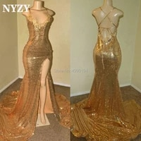 nyzy p63 sexy backless high slit gold prom dress 2019 long mermaid sequin gown for party evening graduation