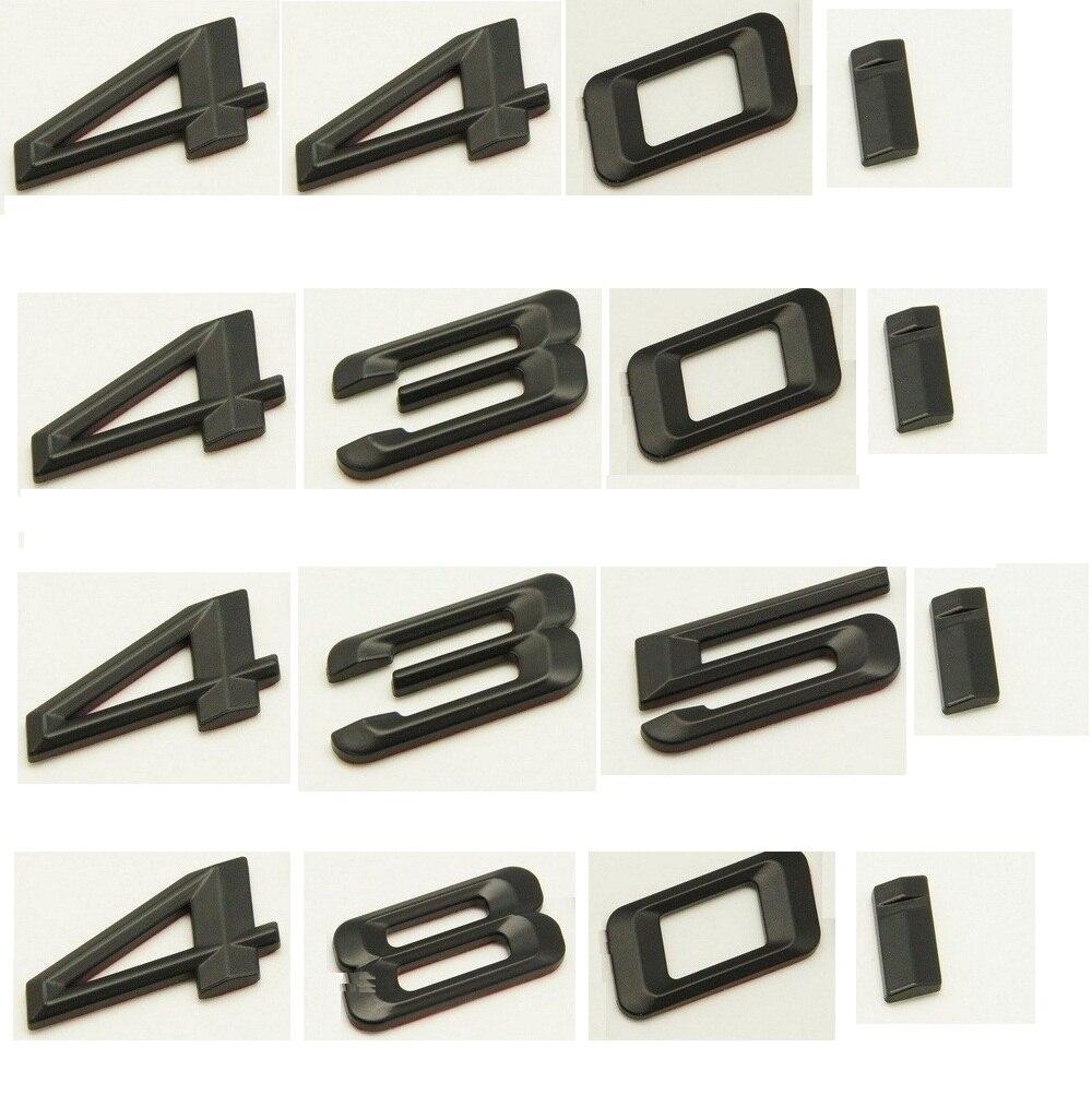 Negro mate ABS número letras palabra coche maletero insignia emblema emblemas para BMW 4 serie 420i 428i 430i 440i 435i 450i 480i