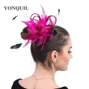 New Color Sinamay Wedding Women Headwear Formal Ladies Fashion Fascinator Hair Accessories With Fancy Feathers Headdress Dinner