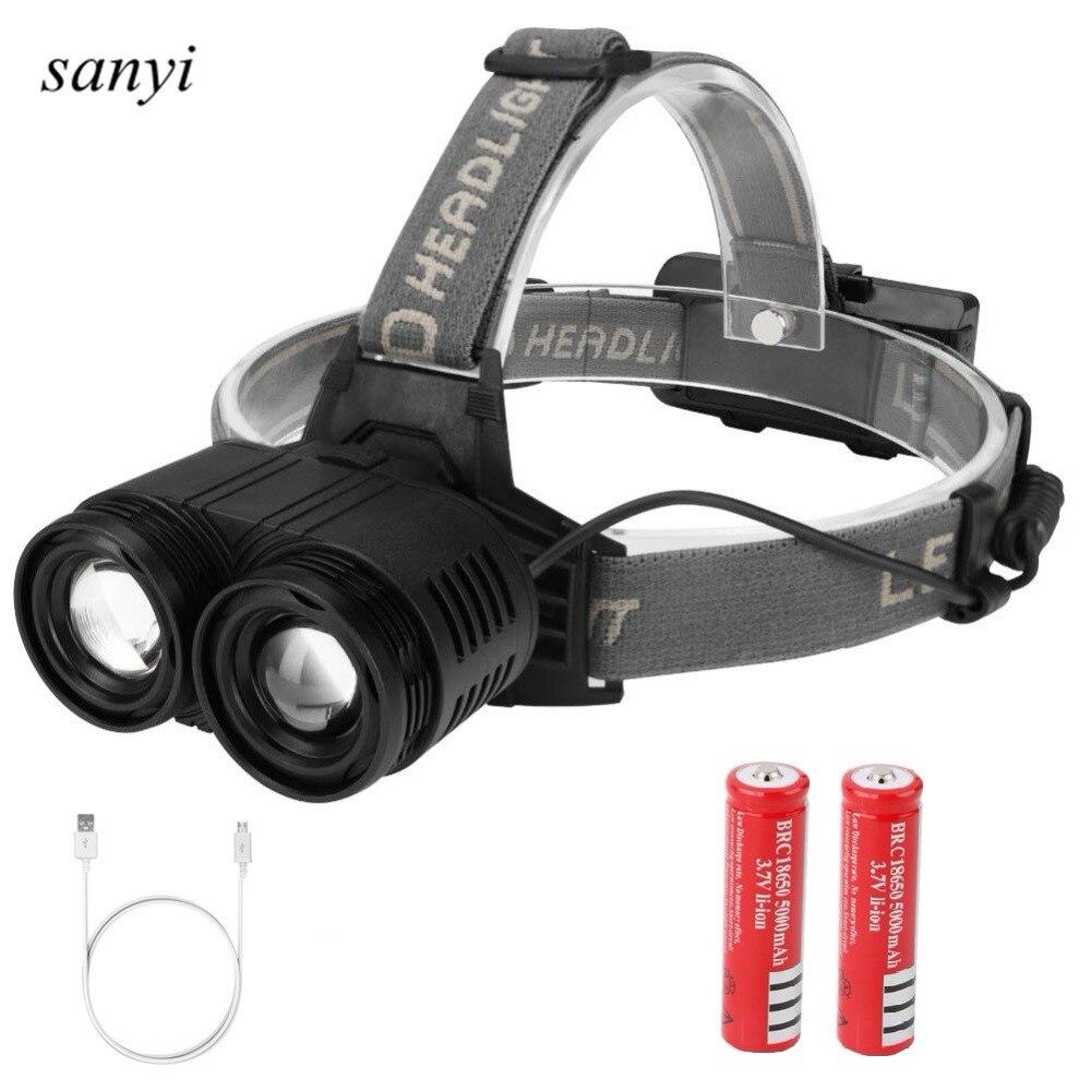 2 * T6 linterna frontal LED recargable linterna cabeza Cree XML-T6 linterna LED senderismo Camping linterna 18650