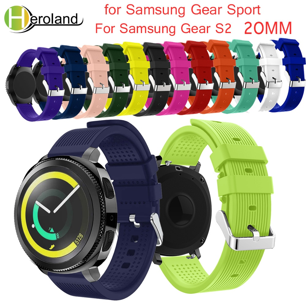 Soft Silicone watchband For Samsung Gear Sport 20mm Replacement Wristband Strap for S2/S4 Classic smart Accessories