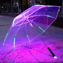 Parasol parapluie droit lumière de 8 côtes   De Style coureur de lame et lampe de poche couleur changeante avec lampe de poche, poignée transparente