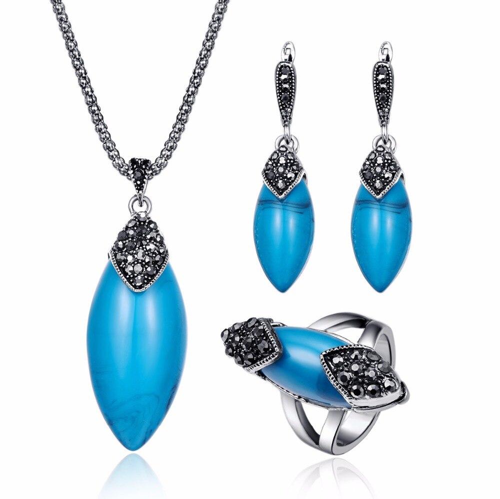 Vintage Blauen Stein Schmuck Sets Für Frauen Antike Silber Schwarz Kristall Große Marquise Harz Anhänger Halskette Ohrringe Ring Set