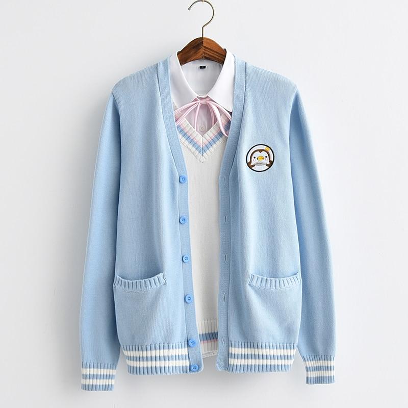 Новинка 2017, милый пингвин, детская вышивка, в школьном стиле, Япония, мягкая Униформа сестры JK, вязаный кардиган, свитер, синий и белый