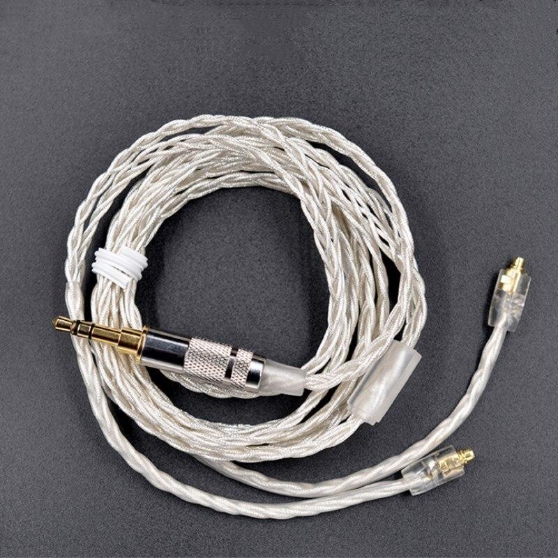 Cable plateado MMCX KZ de 3,5mm conector MMCX interfaz de auriculares Cable de actualización de Audio Cable de refuerzo para auriculares SE215 MMCX